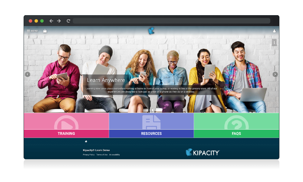 Screenshot of the general layout of the Kipacity Learn landing page